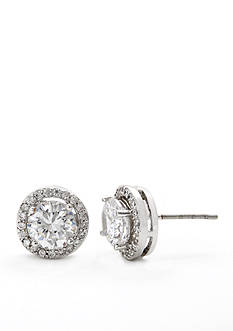 New Directions Round Pave Halo Boxed Earring