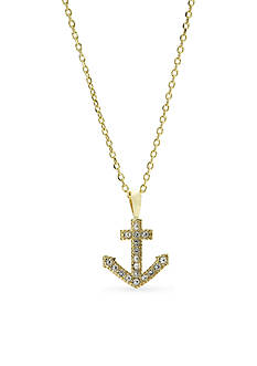 New Directions Boxed Crystal Pave Anchor Pendant Necklace
