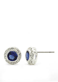 New Directions Silver-Tone Blue Pave Round Stone Cubic Zirconia Button Boxed Earrings
