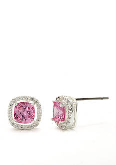 New Directions Silver-Tone Pink Cushion Cut Cubic Zirconia Pave Boxed Earrings