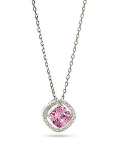New Directions Silver-Tone Pink Cushion Cut Cubic Zirconia Pendant Boxed Necklace