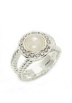 New Directions Silver-Tone Pearl Hue Crystal Pave Boxed Ring