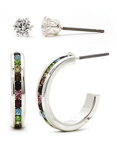 New Directions Silver-Tone Multicolor Cubic Zirconia Eternity Hoop And Clear Stud Earring Boxed Set