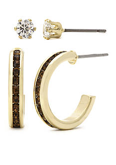 New Directions Gold-Tone Cubic Zirconia Brown Stone Boxed Earring Set
