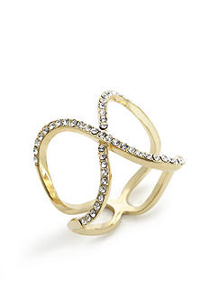New Directions Gold-Tone Crystal X Boxed Ring