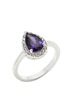 New Directions Silver-Tone Cubic Zirconia Amethyst Tear Drop Pave Boxed Ring