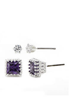 New Directions Silver-Tone Amethyst Square and Cubic Zirconia Stud Earrings Boxed Set
