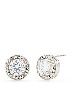 New Directions Silver-Tone Round Cushion Swarovski® Crystal Button Earrings