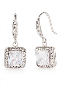 New Directions Silver-Tone Square Cushion Swarovski Crystal Drop Earrings