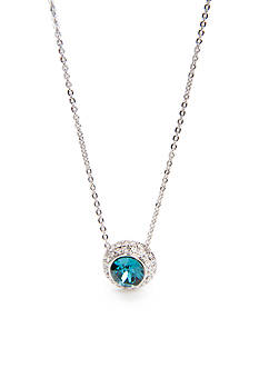 New Directions Silver-Tone Swarovski® Elements Blue Indigo Circle Pendant Boxed Necklace