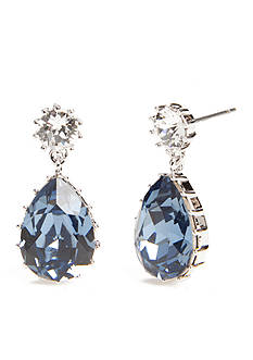 New Directions Silver-Tone Swarovski® Elements Blue Topaz Pear Drop Boxed Earrings
