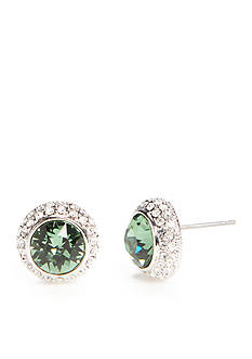 New Directions Silver-Tone Swarovski® Elements Green Garnet Button Boxed Earrings