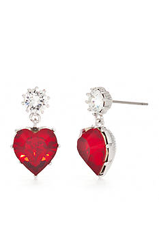 New Directions Silver-Tone Swarovski® Elements Ruby Hearts Boxed Earrings