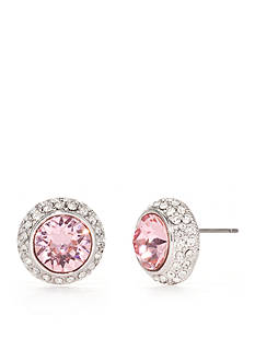 New Directions Silver-Tone Swarovski® Elements Pink Tourmaline Button Boxed Earrings