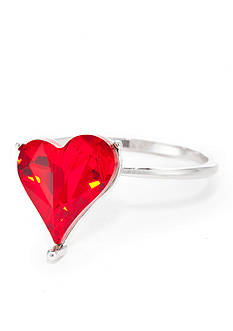 New Directions Silver-Tone Swarovski® Elements Red Heart Boxed Ring