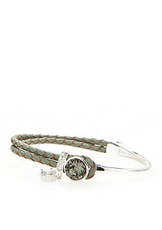 New Directions Silver-Tone Swarovski Elements® Charcoal Crystal Gray Leather Boxed Bracelet