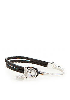 New Directions Silver-Tone Swarovski® Elements Crystal Black Leather Boxed Bracelet