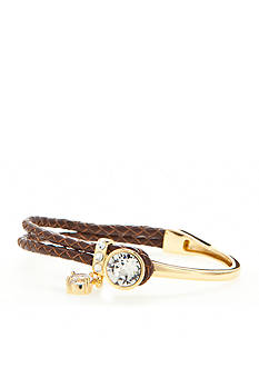 New Directions Gold-Tone Swarovski® Elements Crystal Brown Leather Boxed Bracelet