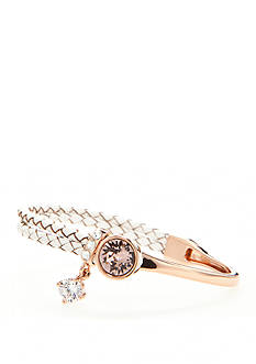 New Directions Rose Gold-Tone Swarovski® Elements Rose Crystal White Leather Boxed Bracelet