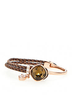 New Directions Rose Gold-Tone Swarovski® Elements Chocolate Crystal Leather Boxed Bracelet