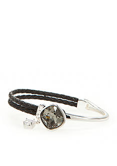 New Directions Silver-Tone Swarovski® Elements Charcoal Crystal Black Leather Boxed Bracelet