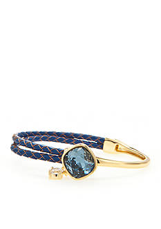 New Directions Gold-Tone Swarovski® Elements Blue Crystal Leather Bracelet