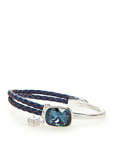 New Directions Silver-Tone Swarovski® Elements Blue Crystal Leather Bracelet