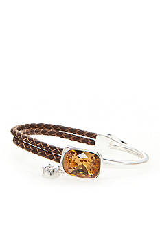 New Directions Silver-Tone Swarovski® Elements Topaz Crystal Brown Leather Boxed Bracelet
