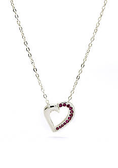 New Directions Silver-Tone Crystal Ruby Heart Pendant Boxed Necklace