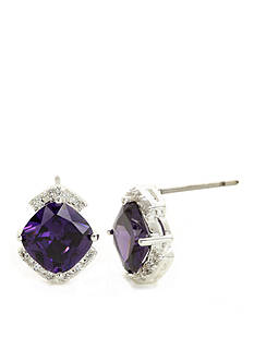 New Directions Silver-Tone Amethyst Cubic Zirconia Stud Boxed Earrings
