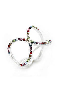 New Directions Silver-Tone Colorful Crystal Infinity Boxed Ring