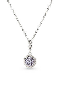 New Directions Silver-Tone Cubic Zirconia Amethyst Pendant Boxed Necklace