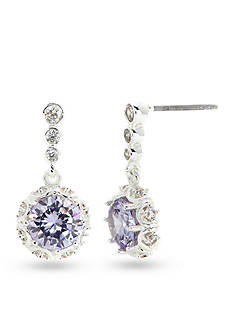 New Directions Silver-Tone Cubic Zirconia Amethyst Drop Boxed Earrings