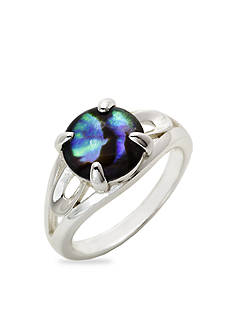 New Directions Silver-Tone Abalone Shell Boxed Ring