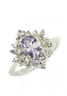 New Directions Silver-Tone Star Burst Cubic Zirconia Boxed Ring
