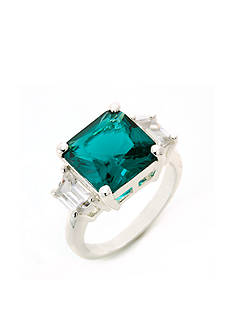 New Directions Silver-Tone Emerald Cubic Zirconia Boxed Ring