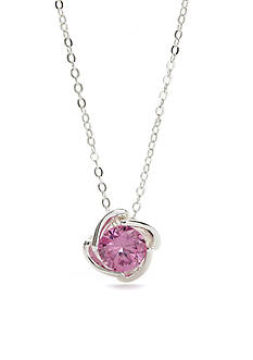 New Directions Silver-Tone Pink Cubic Zirconia Boxed Necklace