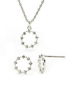 New Directions Silver-Tone Crystal Necklace and Earring Boxed Set
