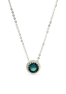 New Directions Silver-Tone Emerald Cubic Zirconia Pendant Boxed Necklace