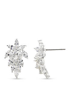New Directions Silver-Tone Cubic Zirconia Cluster Button Earrings