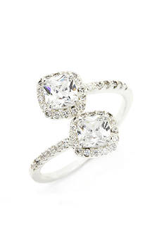 New Directions Silver-Tone Double Cubic Zirconia Cushion Cut Boxed Ring