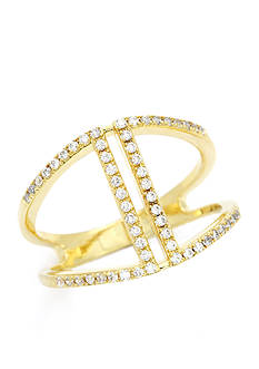 New Directions Gold-Tone Cubic Zirconia Open Band Boxed Ring