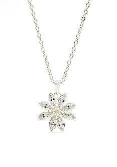 New Directions Silver-Tone Cubic Zirconia Flower Pendant Boxed Necklace
