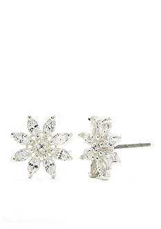 New Directions Silver-Tone Cubic Zirconia Flower Stud Boxed Earrings