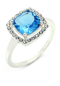 New Directions Silver-Tone Blue Topaz Crystal Boxed Ring