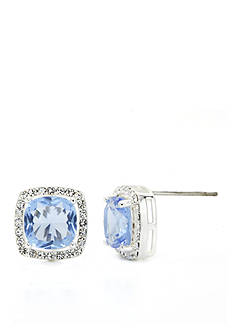 New Directions Silver-Tone Crystal Light Sapphire Boxed Earrings