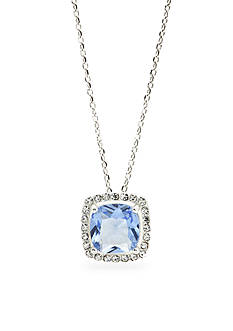 New Directions Silver-Tone Light Sapphire Cubic Zirconia Boxed Pendant