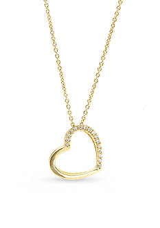 New Directions Gold-Tone Crystal Heart Pendant Boxed Necklace