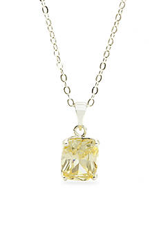 New Directions Silver-Tone Rectangle Cubic Zirconia Pendant Boxed Necklace