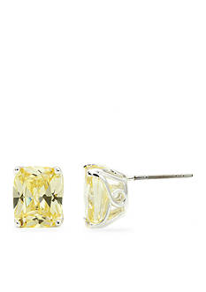 New Directions Silver-Tone Rectangle Jonquil Cubic Zirconia Boxed Earrings